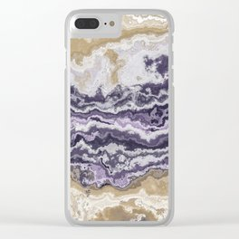 Purple and ochre marble texture Clear iPhone Case