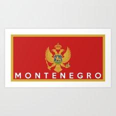 Montenegro country flag name text Art Print