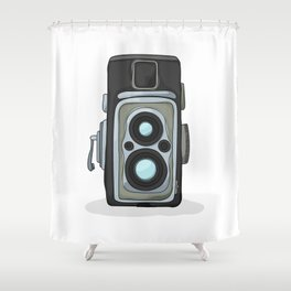 Vintage camera cartoon Shower Curtain