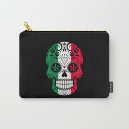 Sugar Skull with Roses and Flag of Italy Carry-All Pouch