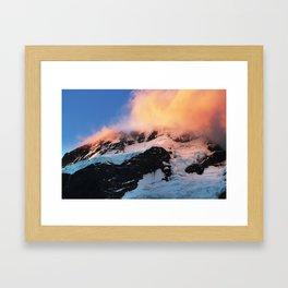 Fiery clouds on Mt Sefton Framed Art Print