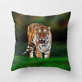 Tiger on Green Throw Pillow