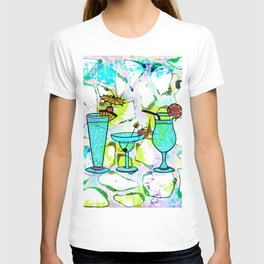Summer Pool Party Cocktails , Watercolor Painting in Aqua Tequila Sunrise Colors T-shirt