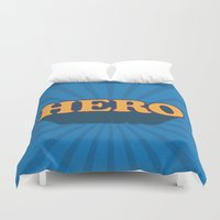 hero Duvet Covers featuring Hero by Word Quirk