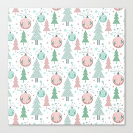 Christmas white pattern Canvas Print