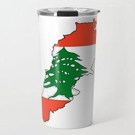 Lebanon Map with Lebanese Flag Travel Mug