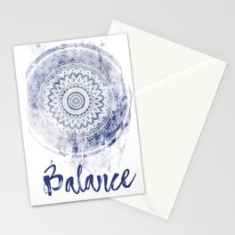 Blue Watercolor Mandala Painting with Word Balance Stationery Cards