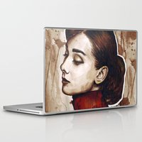 audrey hepburn Laptop & iPad Skins featuring Audrey Hepburn by Olechka