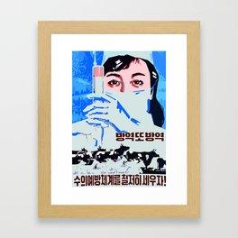 preventive veterinarian system north Korean propaganda Framed Art Print