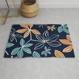 Modern, Minimal, Line Art, Floral Prints, Orange and Navy Blue Rug