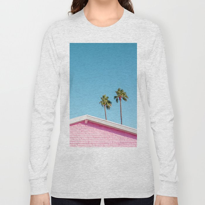 Pink House Roofline with Palm Trees (Palm Springs) Long Sleeve T-shirt
