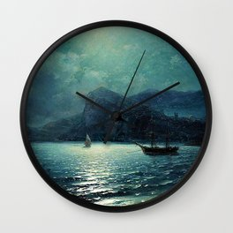 Shipping in a bay by Moonlight - Attributed to Ivan Aivazovsky Wall Clock