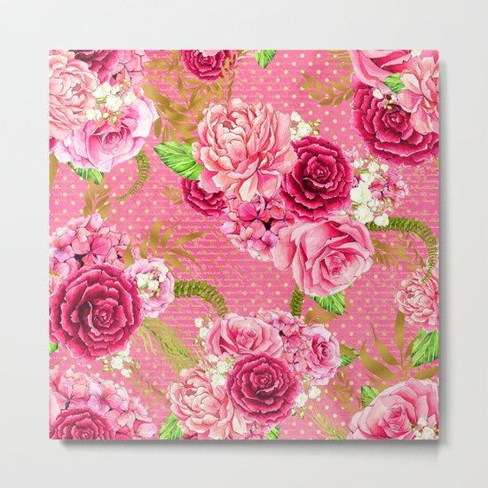Pink Roses Pattern 07 Metal Print