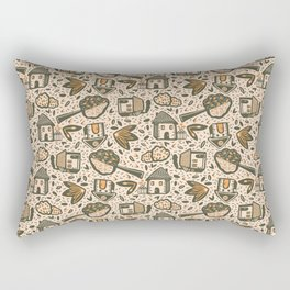 Little Cottages by the Tree in the Garden - Cute Retro Pattern -1 Rectangular Pillow