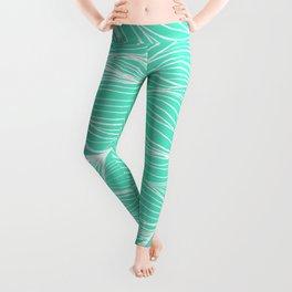 Modern white turquoise hand drawn waves abstract geometric pattern Leggings