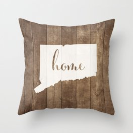 Connecticut is Home - White on Wood Throw Pillow