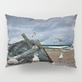 Shipwrecked Wooden Boat on a Rocky Beach with Gulls Pillow Sham
