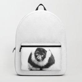 Black and white lemur animal portrait Backpack