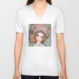 Flowers in her hair Unisex V-Neck