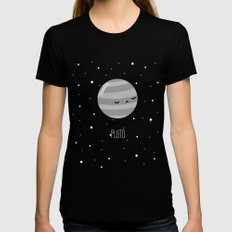 Pluto Black LARGE Womens Fitted Tee
