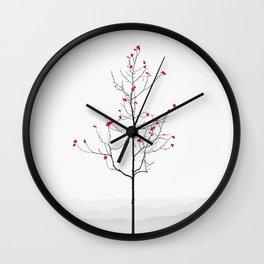Twig Tree - Crimson Wall Clock
