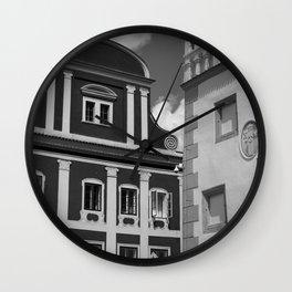 Black and White European Buildings Wall Clock