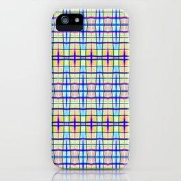 Blue Neon Plaid iPhone Case