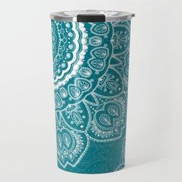 Mandala in White on Teal Travel Mug