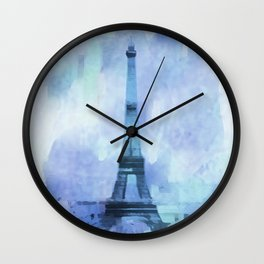 Blue Eifel Tower Paris France abstract painting Wall Clock