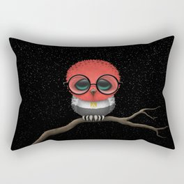 Baby Owl with Glasses and Egyptian Flag Rectangular Pillow