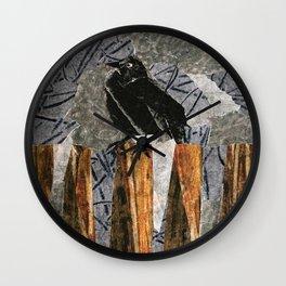 Black Bird on a Gray Day Wall Clock