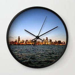 Chicago Skyline Sunset Wall Clock