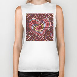 multi-colored rainbow heart on dark brown background. 3D Biker Tank