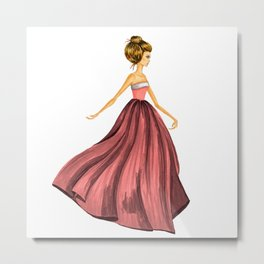 GIRL - Lady In Red - BLONDE - watercolor Metal Print
