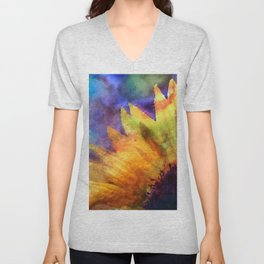 Sunflower Flower Floral on colorful watercolor texture Unisex V-Neck