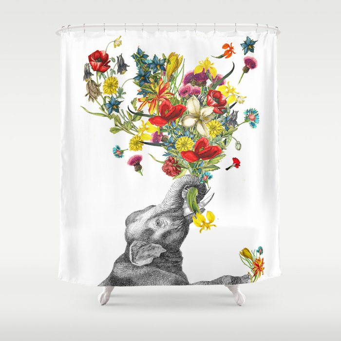 Happy Baby Elephant Shower Curtain By Rococcola