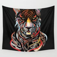 tiger Wall Tapestries featuring Tiger by Felicia Cirstea