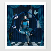 Blue clown in a surreal scenery Art Print
