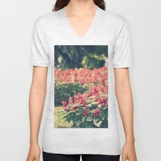 In red Unisex V-Neck