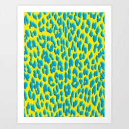 Bright Yellow & Blue Leopard Print Art Print