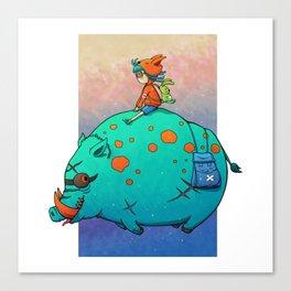 Wild boar rider Canvas Print