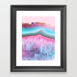 Rose Quartz and Serenity Agate Framed Art Print