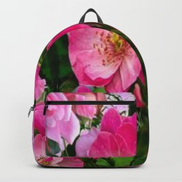 SPRING FUCHSIA PINK ROSES GARDEN ART PATTERN Backpack