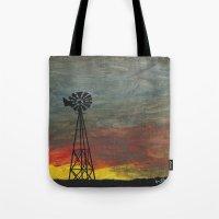 kansas Tote Bags featuring windmill kansas by BryanCorbinArt