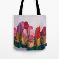 lipstick Tote Bags featuring Lipstick by HOMartistry