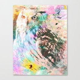 Majestic Eagle Owl Digital Watercolor Canvas Print