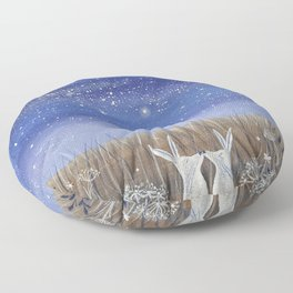 Hares and the Crescent Moon Floor Pillow