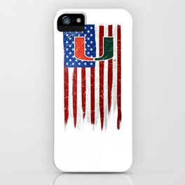 Miami Hurricanes Grunge American Flag T-Shirt - Apparel iPhone Case