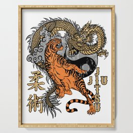Jiu Jitsu Tiger and Dragon Yin Yang Martial Arts Bjj MMA Serving Tray