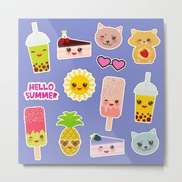 Hello Summer. Pineapple, cherry smoothie cup, ice cream, sun, cat, cake, hamster. Kawaii cute face. Metal Print
